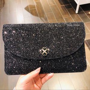 Kate Spade Odette Black Glitter Clutch